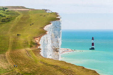 ENG16441AWRF A view towards the Beachy Head lighthouse at the South Downs National Park, East Sussex, England