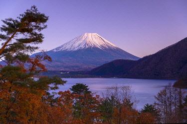 JAP2174AWRF Mount Fuji and Lake Motosu at dusk, Yamanashi Prefecture, Japan