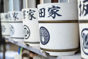JAP2176AW Water buckets at temple, Ueno, Tokyo, Japan