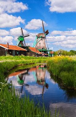 NLD1122AWRF Windmills in Zaanse Schans, an open air conservation area and museum near Amsterdam, the Netherlands