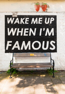 "NLD1123AW ""Wake me up when I'm famous"" bench in Amsterdam, the Netherlands"