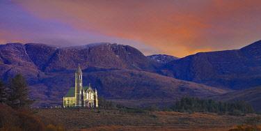 IRL1084AW Ireland, Co.Donegal, Sacred heart church at Dunlewey illuminated at dusk