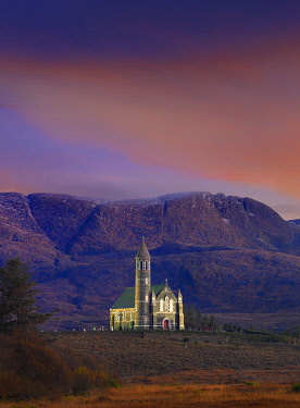 IRL1087AW Ireland, Co.Donegal, Sacred heart church at Dunlewey illuminated at dusk