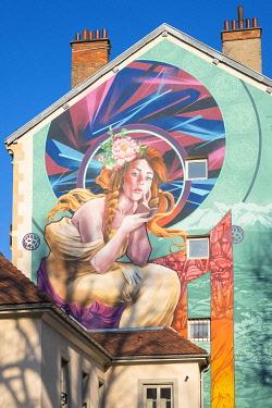 HMS3484561 France, Isere, Grenoble, Cours Berriat, Notre-Dame de Grace;, hop, fresco created during the Grenoble Street-Art Fest 2017
