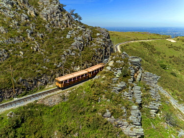 HMS3531255 France, Pyrenees Atlantiques, Basque Country, Ascain, La Rhune, the Rhune train, little cog railway (aerial view)