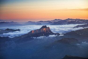 HMS3589238 France, Haute Savoie, Chamonix Mont Blanc, Aravis mountain at sunrise