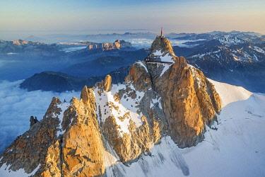 HMS3589258 France, Haute Savoie, Chamonix Mont Blanc, Aiguille du Midi (3842m) (aerial view)