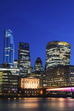 TPX73306 England, London, City of London Skyline and London Bridge and River Thames at Night