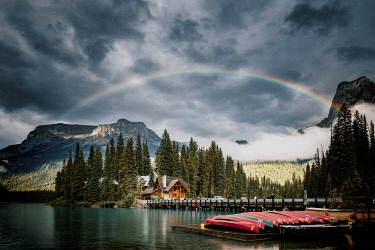 CAN3529AWRF Emerald Lake in the Canadian Rockies, British Columbia, Canada. Canoa at sunset