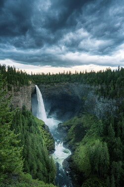 CAN3571AW Helmcken Falls, Wells Gray Provincial Park, British Columbia, Canada. Stormy weather
