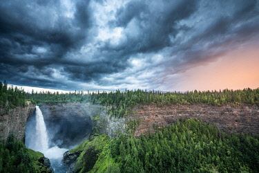 CAN3572AW Helmcken Falls, Wells Gray Provincial Park, British Columbia, Canada. Stormy weather