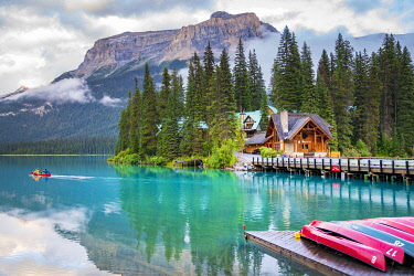 CAN3580AW Emerald Lake in the Canadian Rockies, British Columbia, Canada. Canoa at sunset