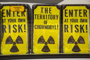 UA02283 Radiation warning signs for sale, Chernobyl Exclusion Zone, Ukraine