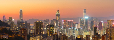 CH12233AWRF Hong Kong Island skyline at sunset, Hong Kong