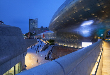 SKO430AW Dongdaemun Design Plaza at dusk, Seoul, South Korea