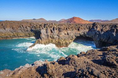 SPA9690AW Los Hervideros lava cliffs and ocean waves, Lanzarote, Canary Islands, Spain