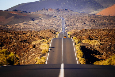 SPA9693AW Scenic road to Timanfaya National Park, Lanzarote, Canary Islands
