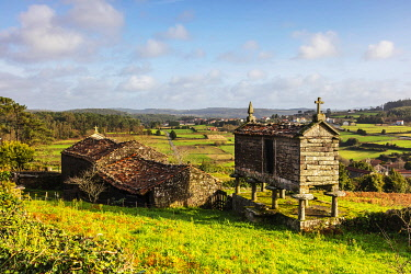 SPA9644 Spain. Galicia. Muxia. Typical constructions to store farm products in fields and farms across Galicia and O Coruna which Camino pilgrims see on their way.