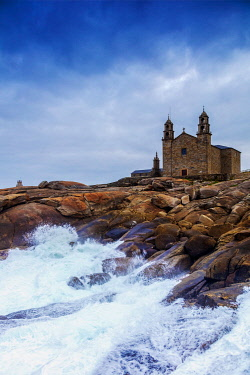 SPA9654 Spain. Galicia. Muxia. The impressive Virxe de Barca Sanctuary and Church on the Ocean at the end of Muxia one of the milestones of the Muxia and Finisterre Ways on the extention of the Camino di Sant...
