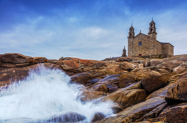 SPA9655 Spain. Galicia. Muxia. The impressive Virxe de Barca Sanctuary and Church on the Ocean at the end of Muxia one of the milestones of the Muxia and Finisterre Ways on the extention of the Camino di Sant...