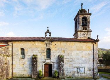 SPA9663 Spain. Galicia. Mos. Church of Santa Baia of Mos, on the Camino Portuges towards Santiago de Compostela.