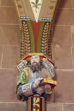 IBLCCK02423446 Statue of the Apostle Matthew, corbel figure inside the Church of St. Peter and Paul, Hirsau Benedictine monastery, Hirsau, Calw, northern Black Forest, Baden-Wuerttemberg, Germany, Europe