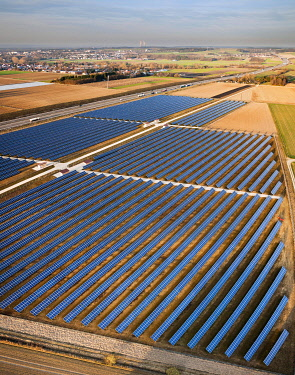 IBLRYR01877130 Aerial view, solar panels, photovoltaics array, motorway, nuclear power station, Bubesheim, Swabia, Germany, Europe