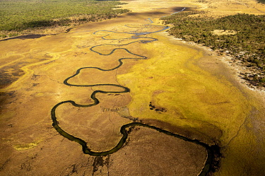 IBXFLW05010147 Aerial view, Cubango river meanders through grass savannah, near Cuito Cuanavale, Cuando Cubango Province, Angola, Africa