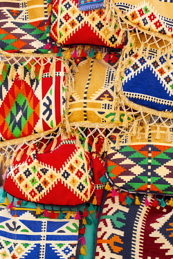 AF14MWT0070 Egypt. Colorful woven bags. Nubian village on Elephantine Island, located in the Nile River area near Aswan