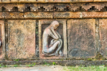 AS03KSU0042 Detailed stone carving, Somapura Mahavihara (Paharpur Buddhist Bihar), UNESCO World Heritage Site, Paharpur, Naogaon District, Rajshahi Division, Bangladesh