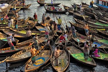AS03KSU0085 Ferry boats on Buriganga River at Sadarghat (City Wharf), Dhaka River Port, Dhaka, Bangladesh