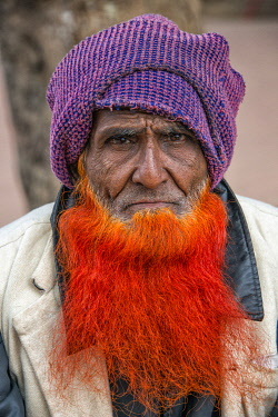 AS03KSU0221 Man with beard dyed with saffron, Bogra District, Rajshahi Division, Bangladesh.