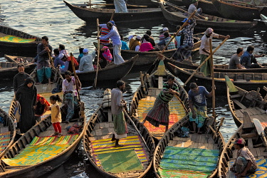 AS03KSU0255 Ferry boats on Buriganga River at Sadarghat (City Wharf), Dhaka River Port, Dhaka, Bangladesh.
