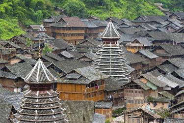 AS07KSU2731 Dong village in the mountain, Huanggang, Zhaoxing, Guizhou Province, China.