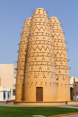AS30EWI0044 Qatar, Doha. Katara Pigeon Towers. Built in 2006-2007 of adobe, clay, bricks and wood.