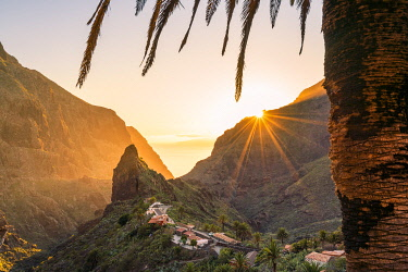 CLKAC126051 Masca village at sunset. Tenerife, Canary Islands, Spain