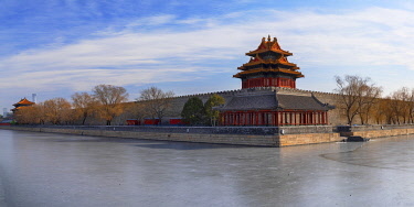 CH12327AWRF Towers and moat of Forbidden City, Beijing, China