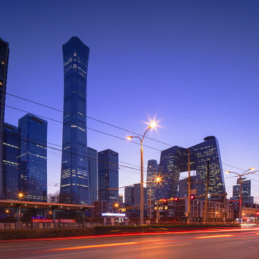 CH12332AWRF CITIC Tower (tallest skyscraper in Beijing in 2020) and CCTV Headquarters at dusk, Beijing, China