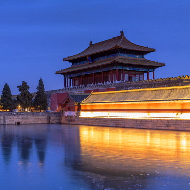 CH12355AWRF Tower and moat of Forbidden City at dusk, Beijing, China