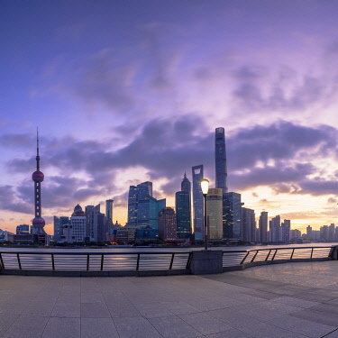 CH12362AWRF Skyline of Pudong at sunrise, Shanghai, China