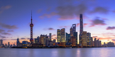 Skyline of Pudong at sunrise, Shanghai, China