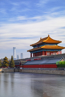 CH12298AW North Gate and moat of Forbidden City with CITIC Tower in background, Beijing, China