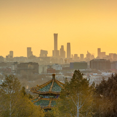 CH12309AW Skyscrapers of Chaoyang business district from Jingshan Park at sunrise, Beijing, China