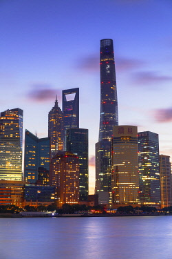 CH12323AW Shanghai Tower, Shanghai World Financial Centre and Jin Mao Tower on Pudong at dawn, Shanghai, China