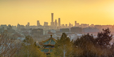 CH12324AW Skyscrapers of Chaoyang business district from Jingshan Park at sunrise, Beijing, China