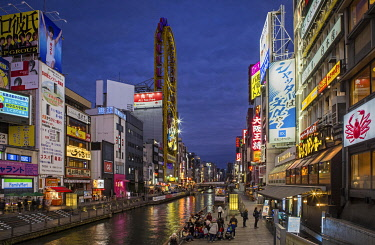 IBLASW05100631 Dotonbori Canal, illuminated advertising, restaurants, shops, night scene, Dotonbori District, Osaka, Japan, Asia
