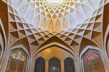 IBLGAB05100249 Pavilion under the wind catcher and colourful stained glass windows, Dolat Abad Garden, Yazd, Iran, Asia