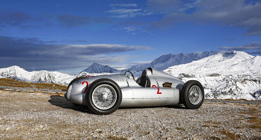 Grossglockner Grand Prix 2017, Auto Union Grand Prix racing car type D from 1938, true to original replica, Grossglockner high alpine road, Grossglockner, Austria, Europe