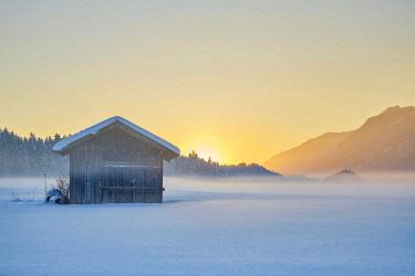 IBLVCH04467887 Small cabin, winter landscape, hay barn in fog at dusk, Kramsach, Tyrol, Austria, Europe
