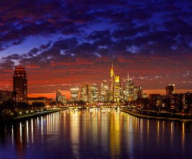 IBXCNA05096905 Skyline in afterglow, Frankfurt am Main, Hesse, Germany, Europe
